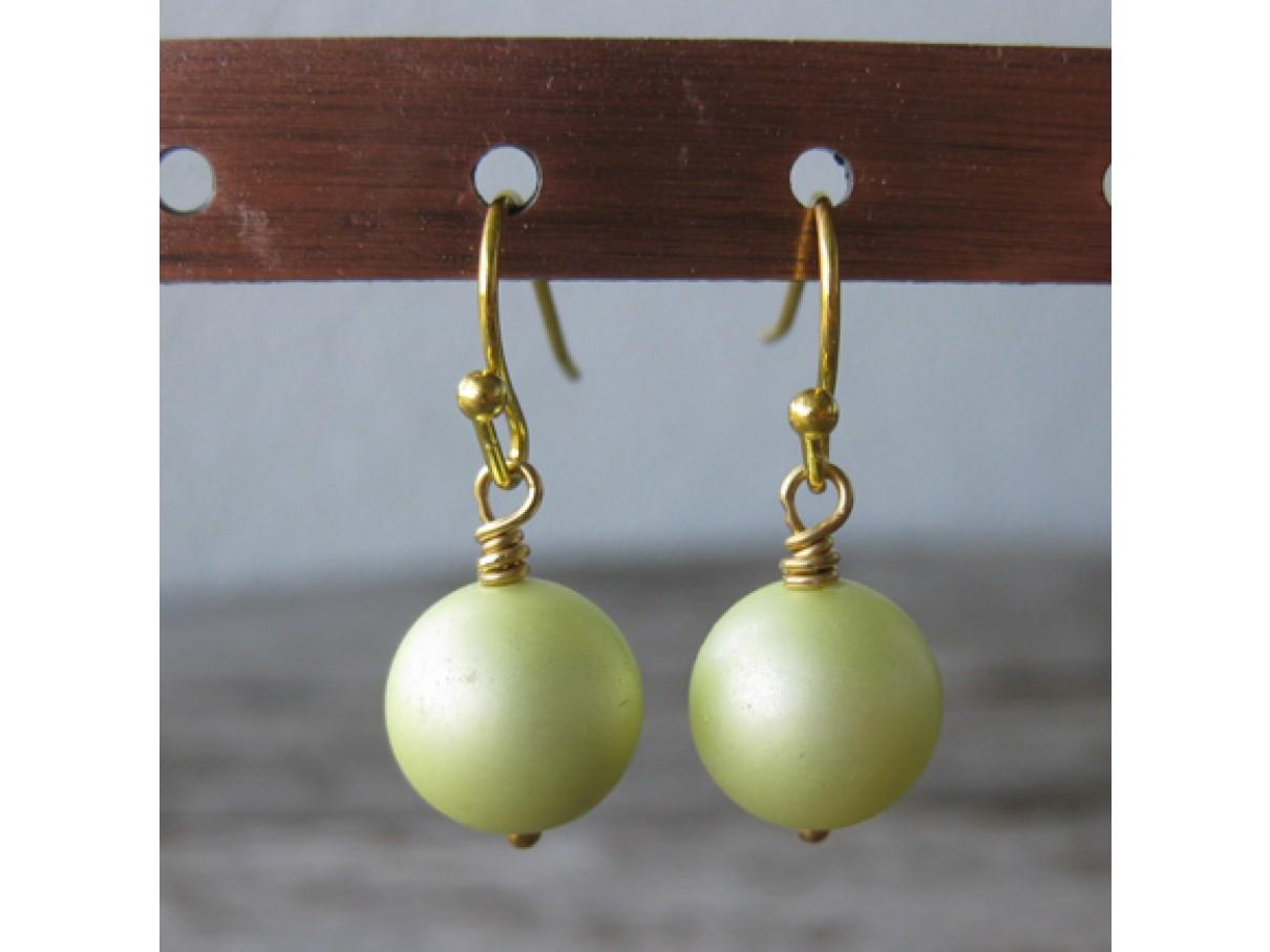 Øreringe frostet lys gul crystal pearl, guld