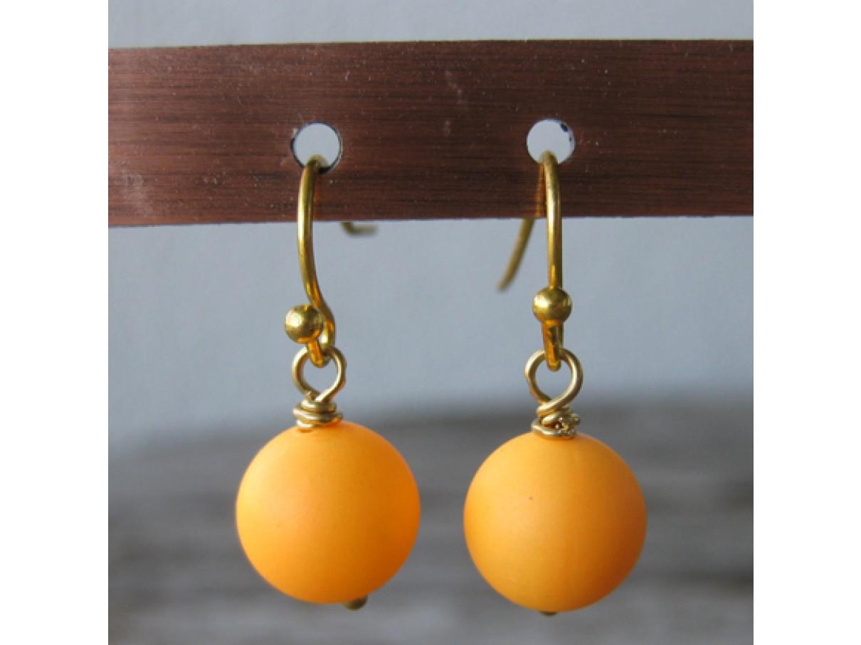 Øreringe frostet orange crystal pearl, guld