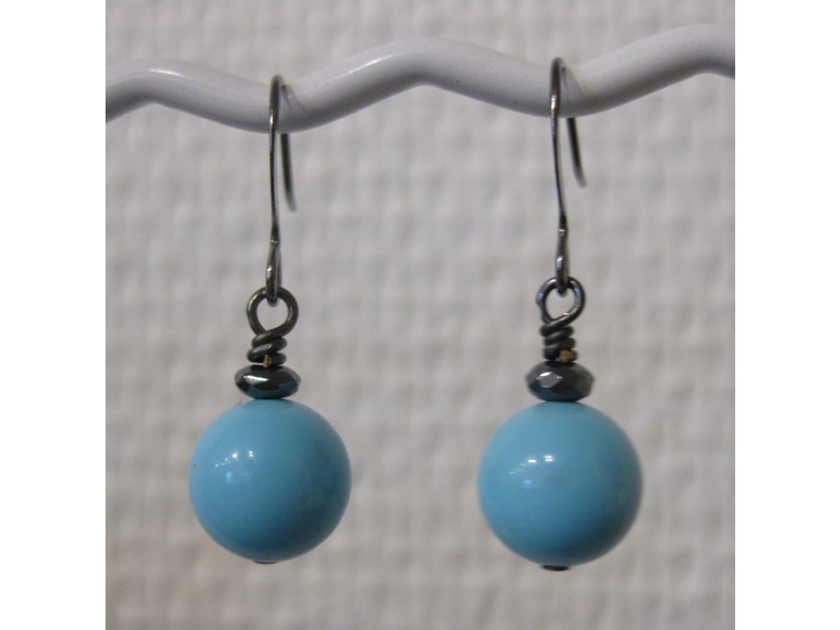 Øreringe, mint blå crystal pearl, gunmetal