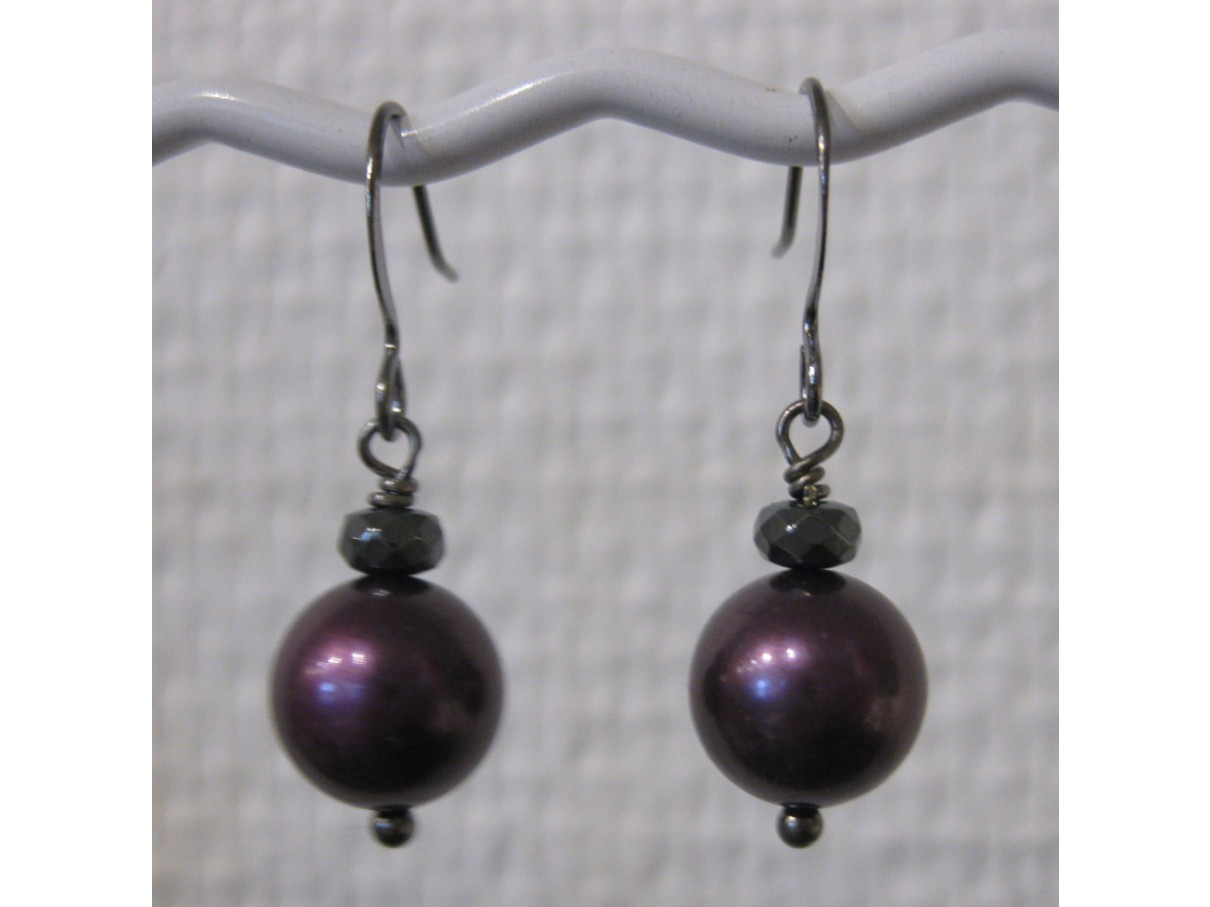 Øreringe, bordeaux crystal pearl, gunmetal
