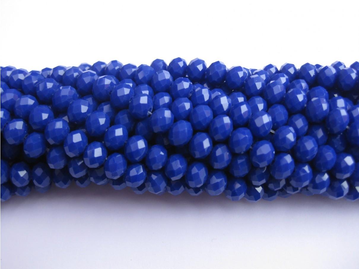 Facetslebne glasperler, mørk blå 4x6mm