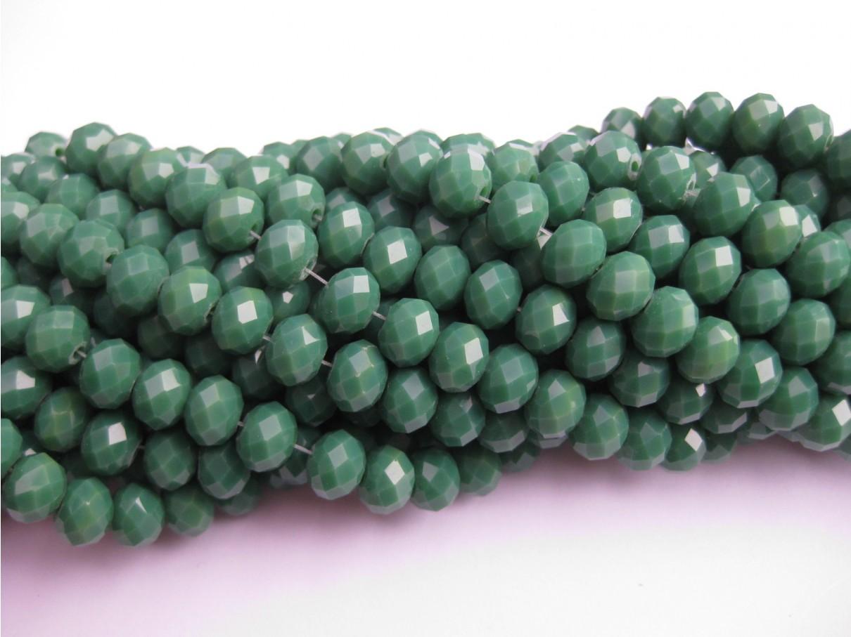 Facetslebne glasperler, grøn 6x8mm