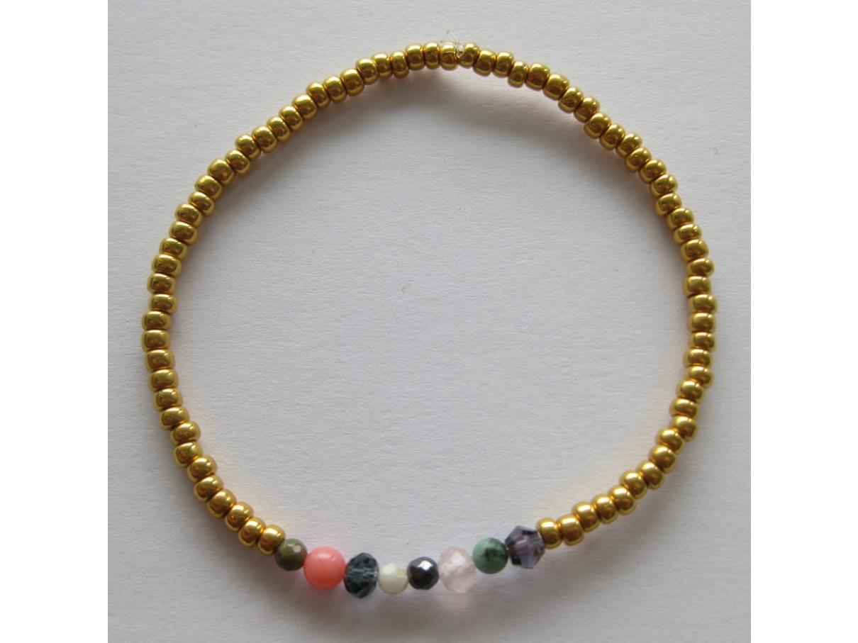 Armbånd, guld med mix sten-00