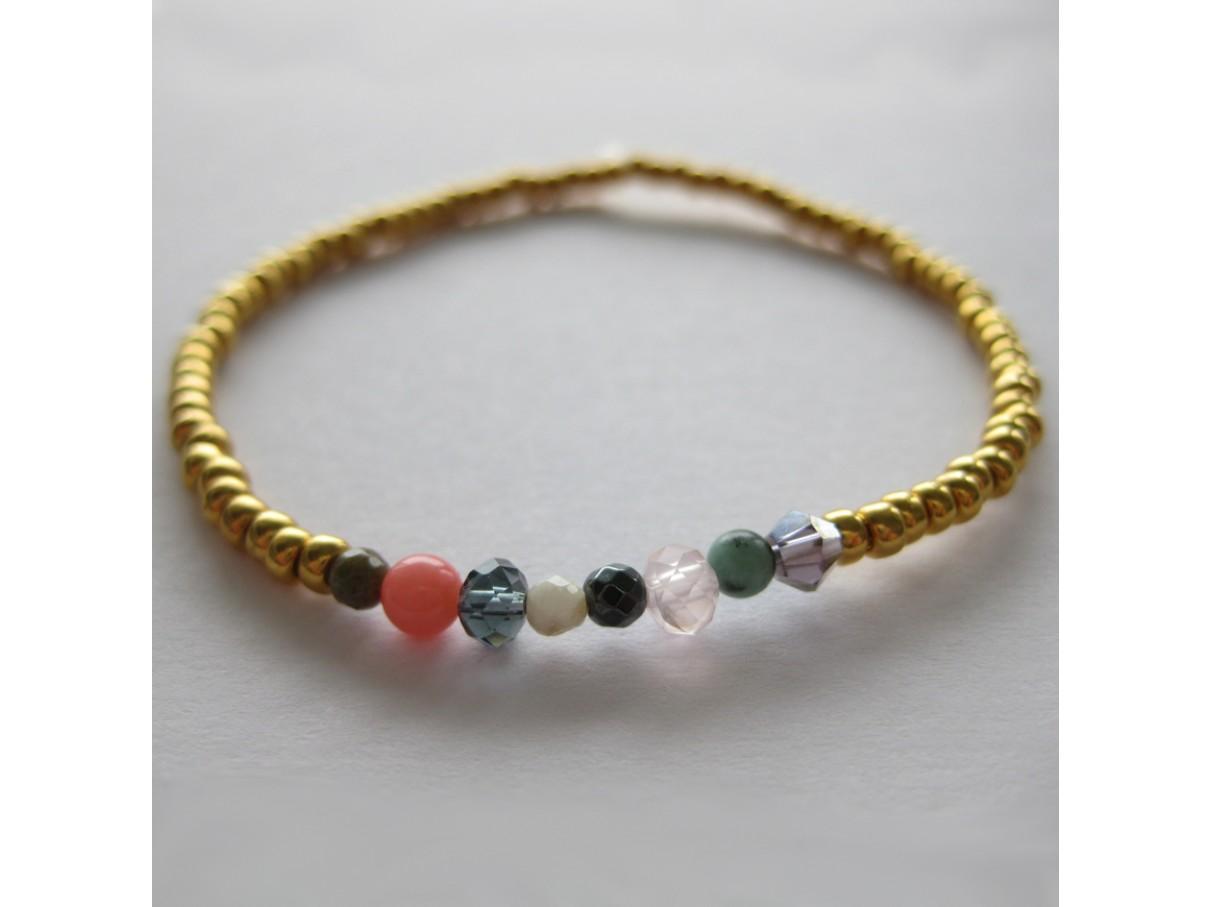 Armbånd, guld med mix sten