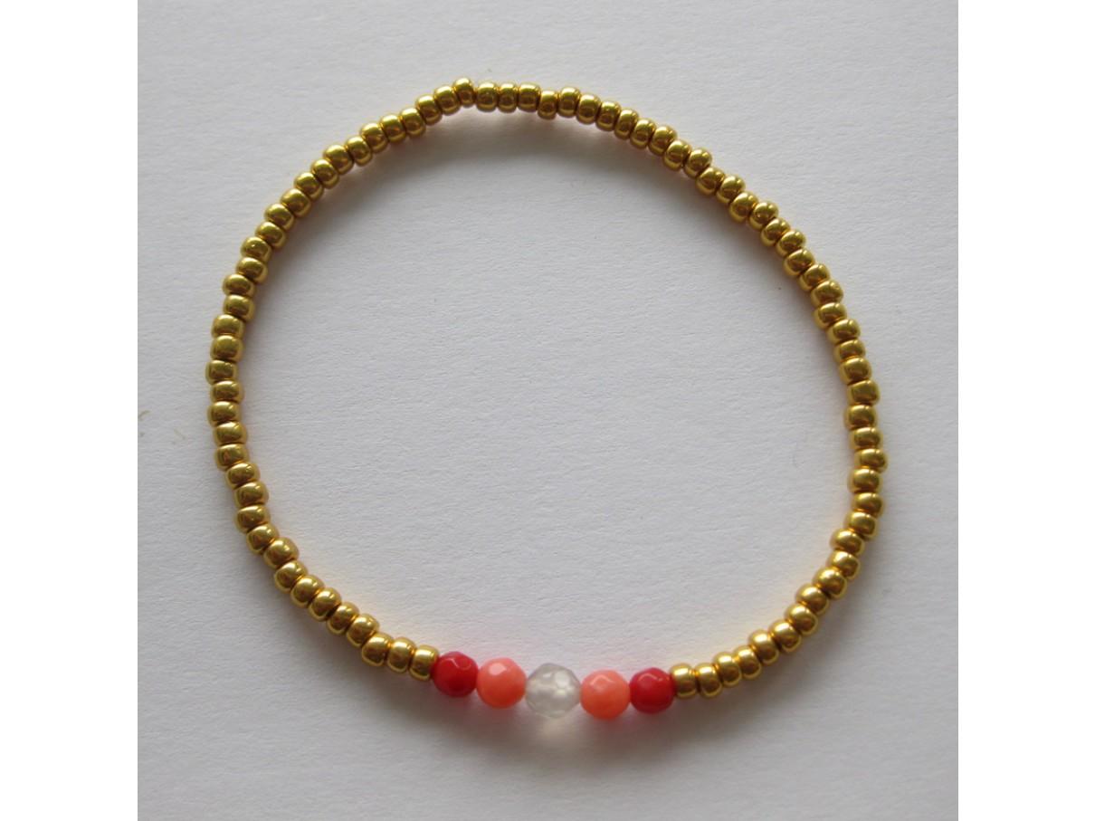 Armbånd, guld med koral-00