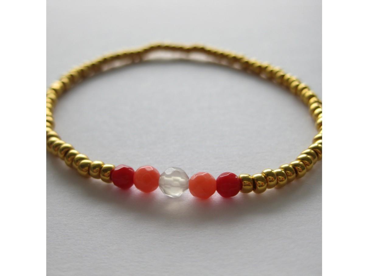 Armbånd, guld med koral
