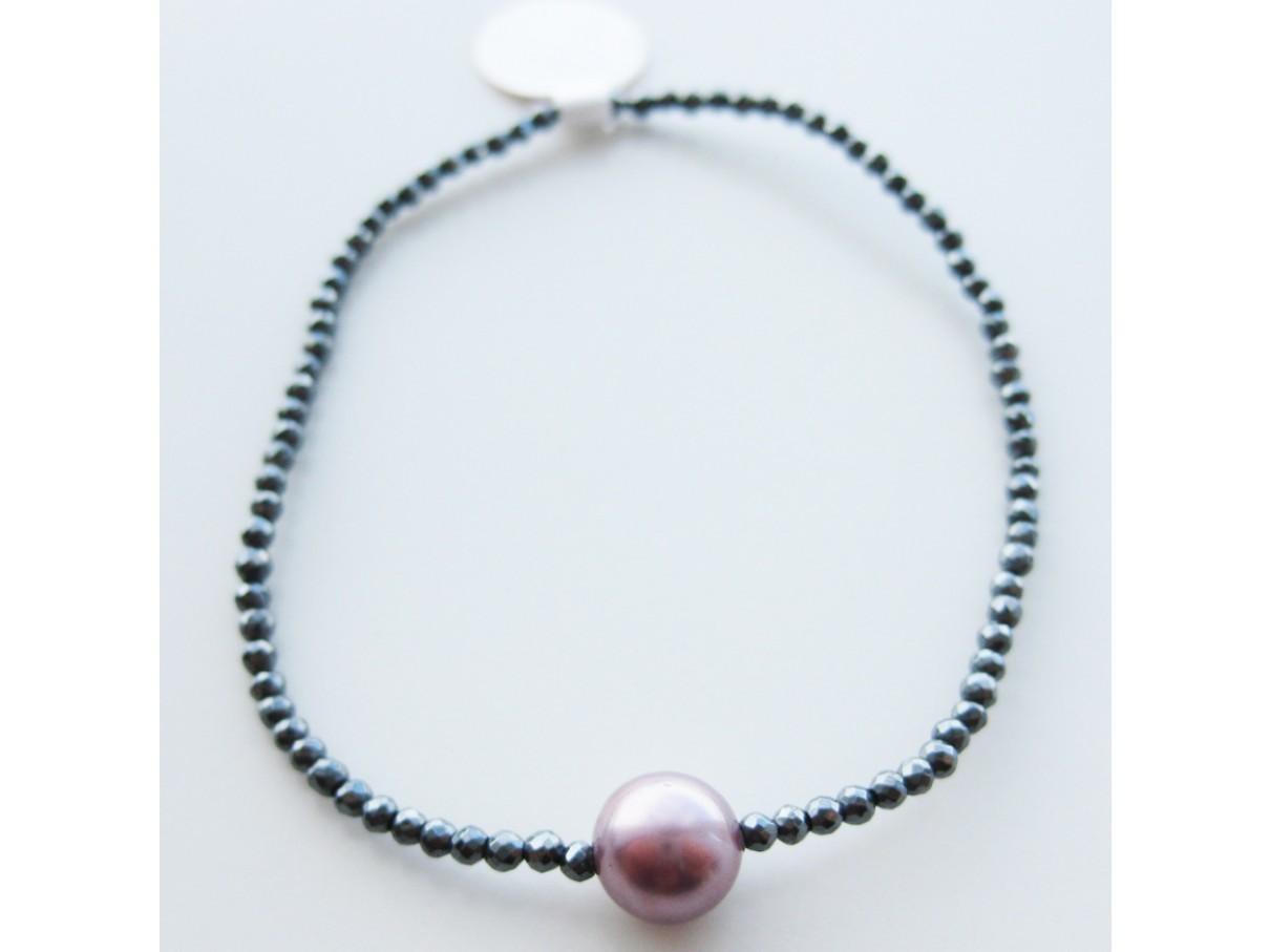 Armbånd, hæmatit m. shellpearl - rosa