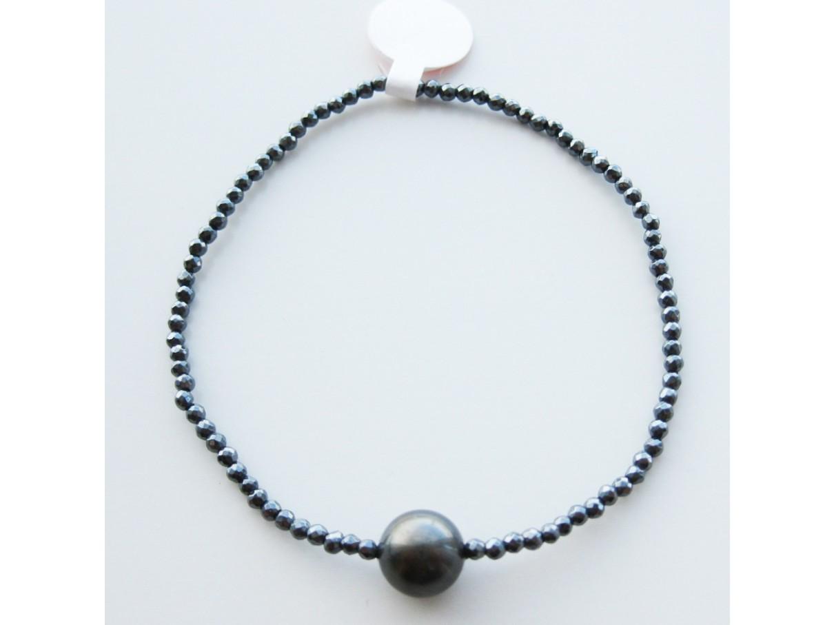 Armbånd, hæmatit m. shellpearl - mørk grå