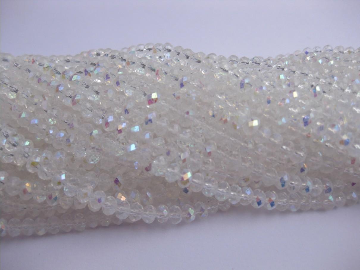 Facetslebne glasperler, krystal AB 3x4mm