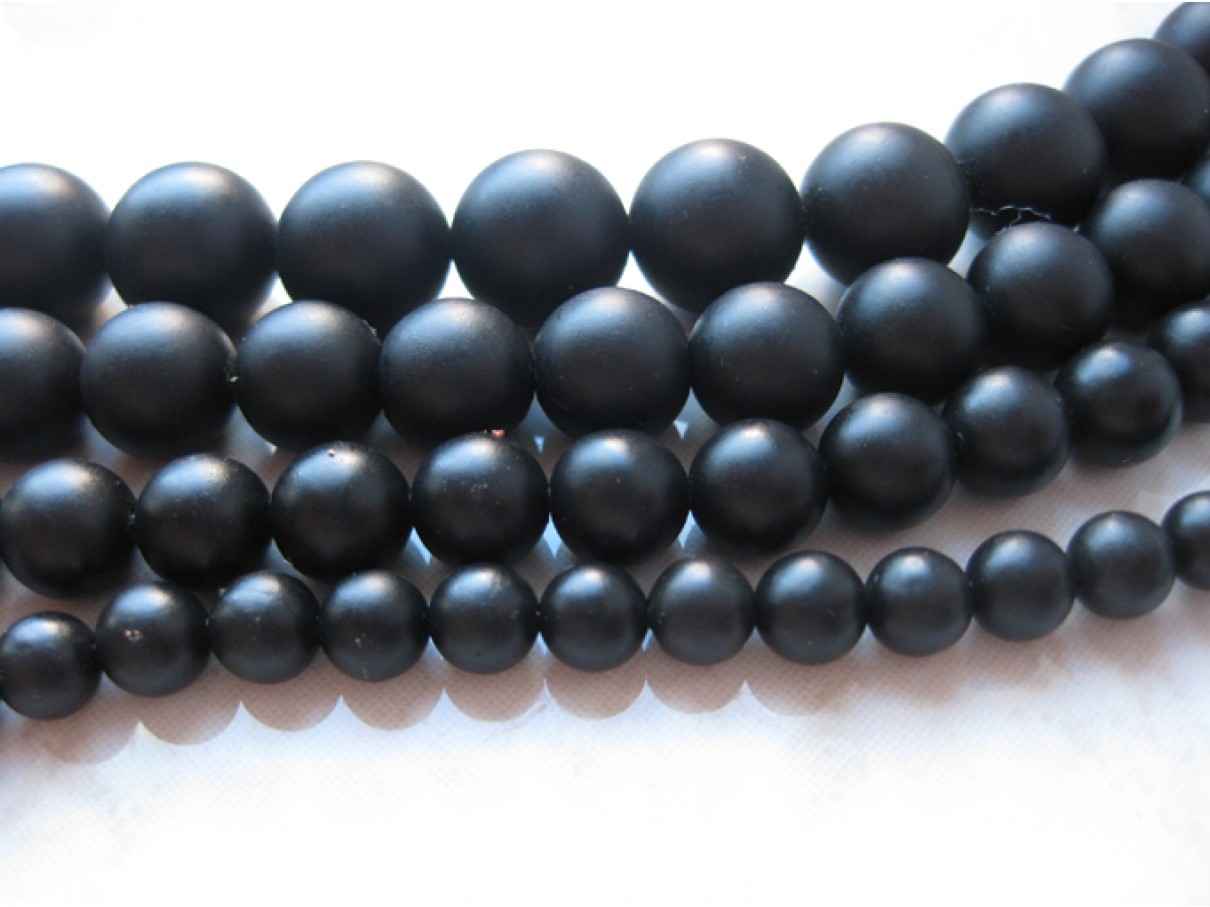 Matte sorte perler af agat