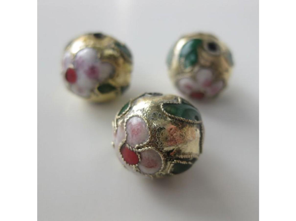 15mm kinesisk cloisonné perle, guld eller sort