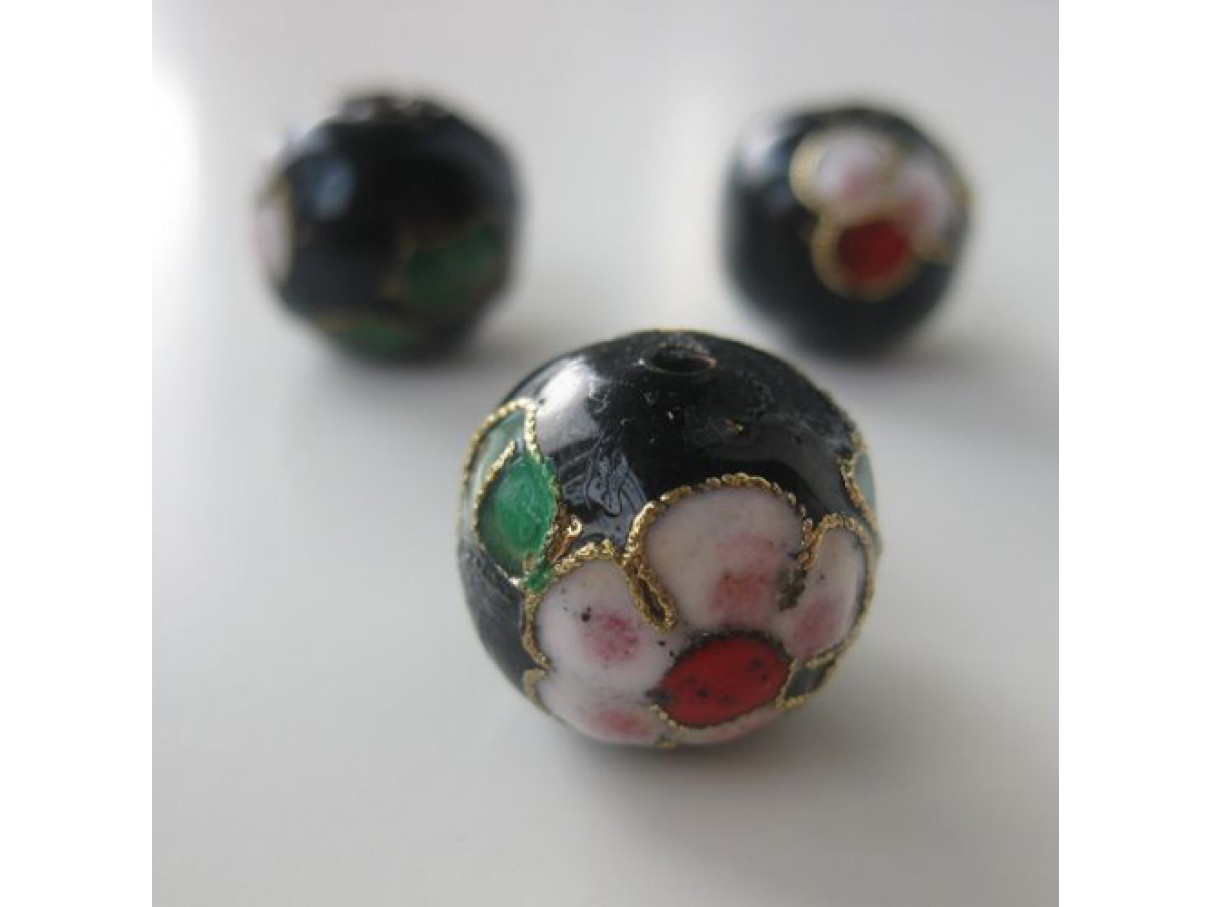 15mm kinesisk cloisonné perle, guld eller sort-0