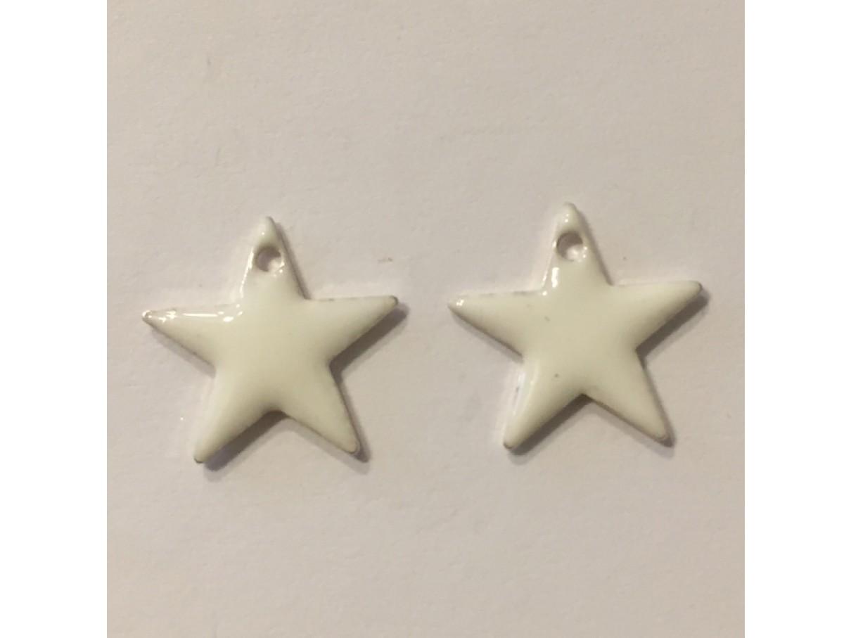 Emalje vedhæng, 12mm stjerne, 2 stk hvid