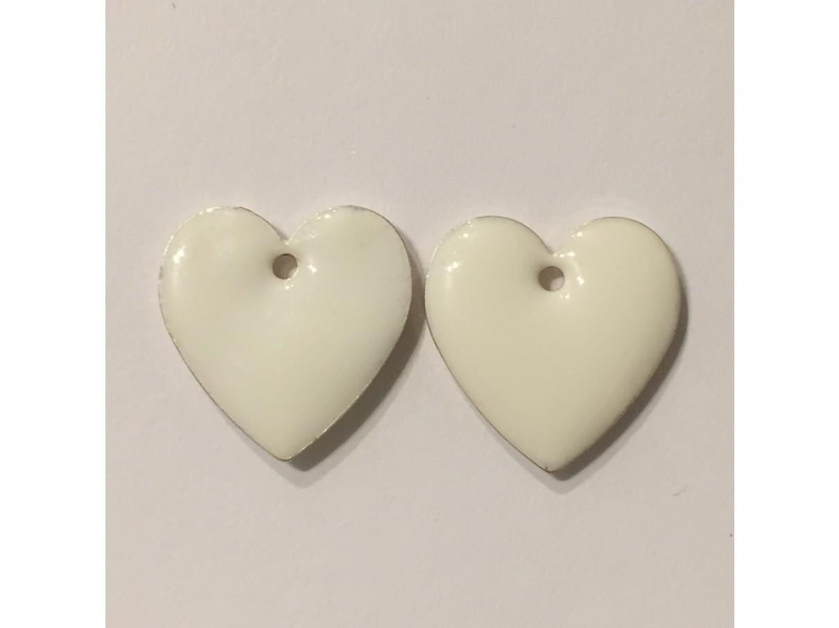 Emalje vedhæng, 16mm hjerter, 2 hvide