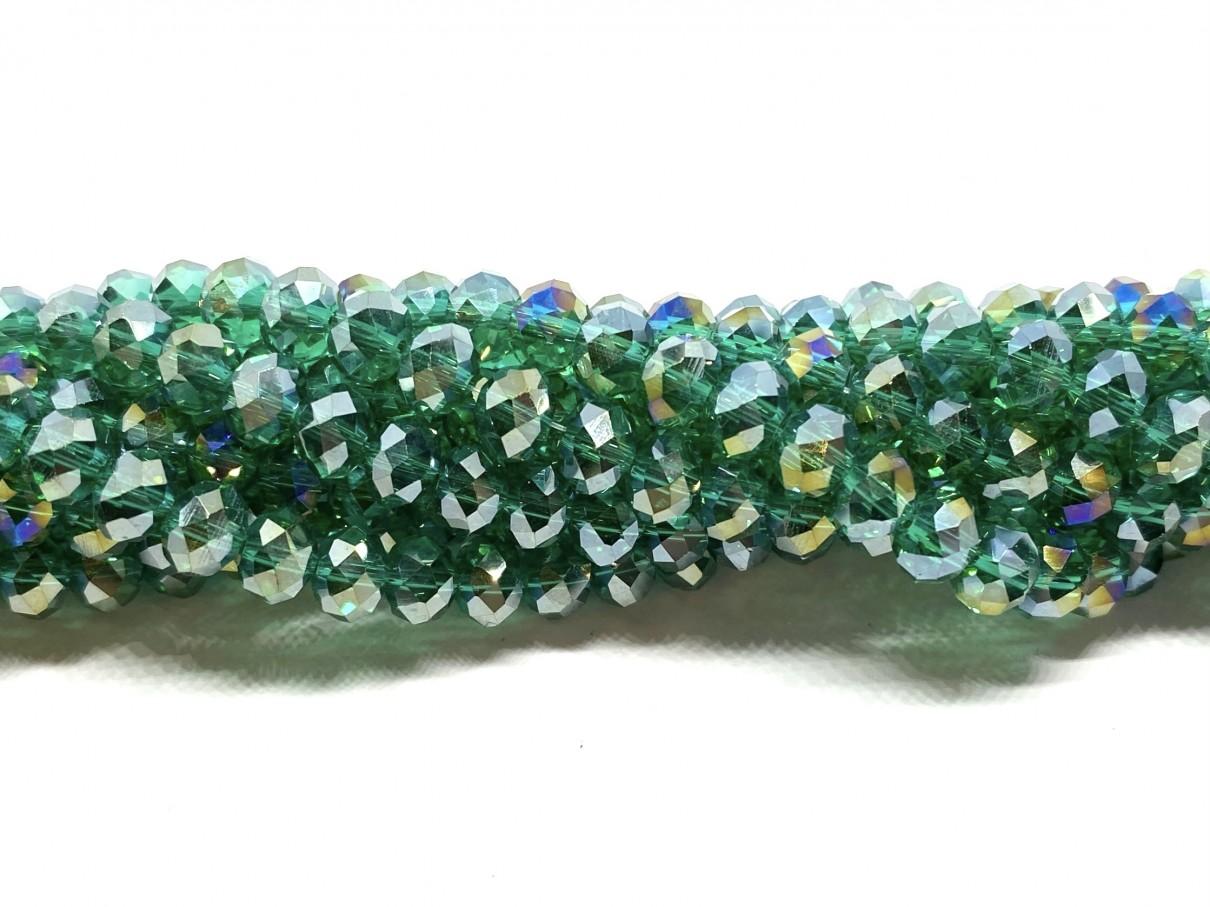 Facetslebne glasperler, klar grøn AB 4x6mm