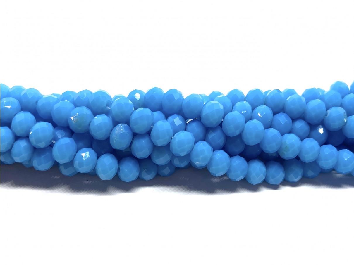 Facetslebne glasperler, turkis blå 4x6mm
