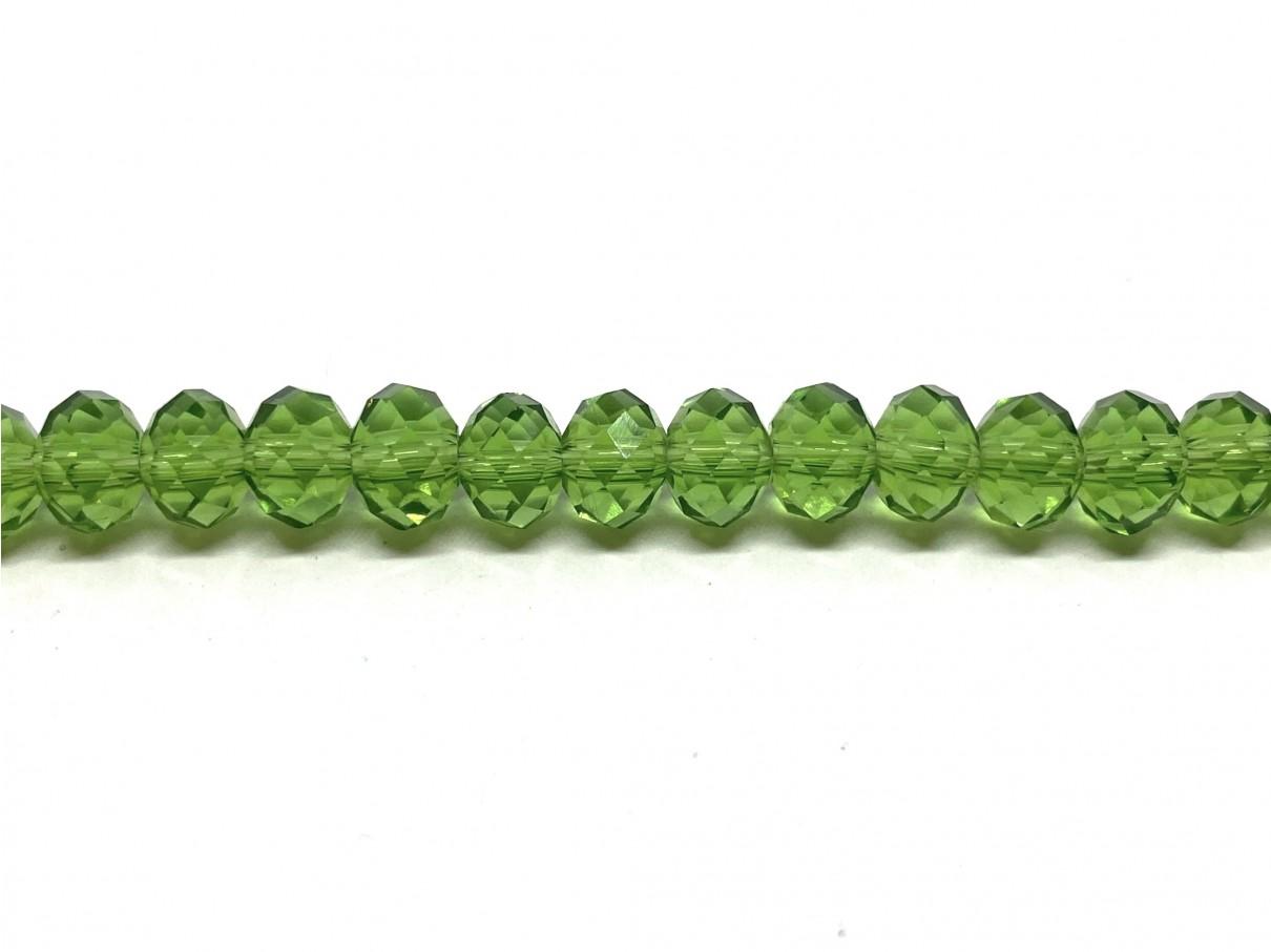 klare grønne facetslebne glasperler 4x6mm