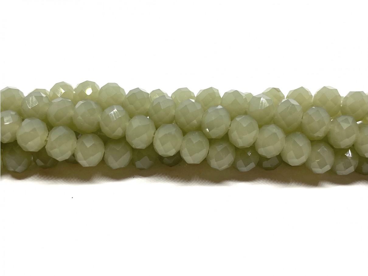 Facetslebne glasperler, støvet grøn 4x6mm
