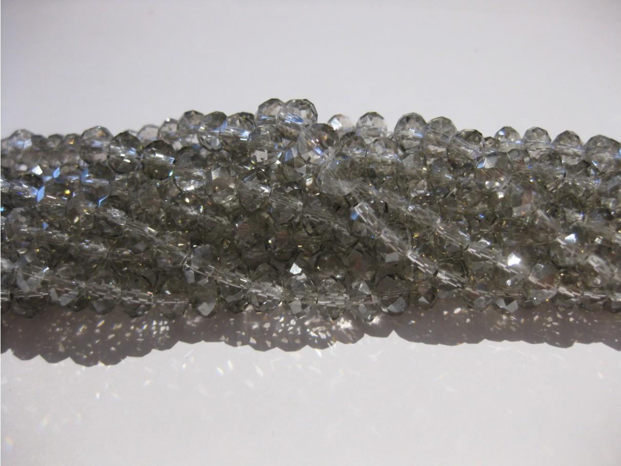 Facetslebne glasperler, klar sølv-grå 3x4mm