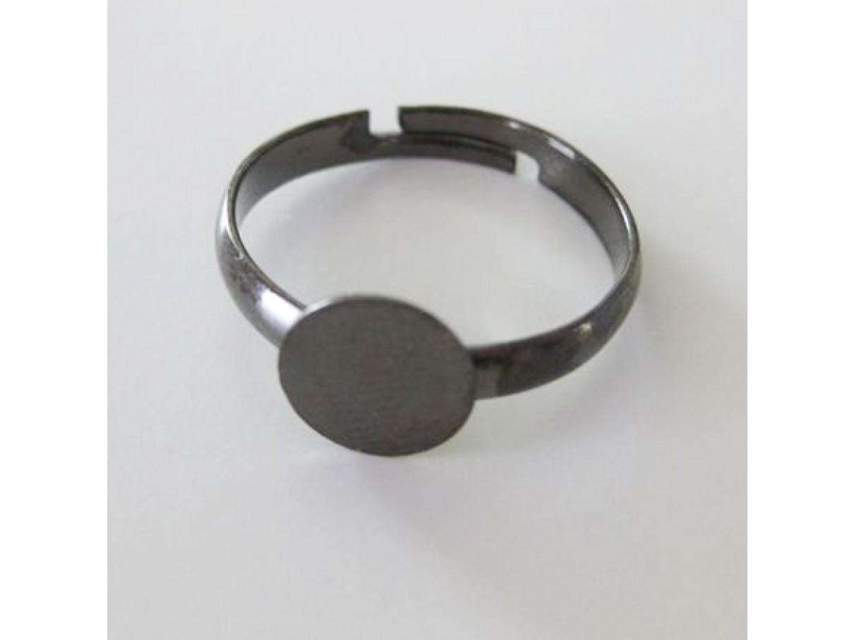 Gunmetal fingerring med 8mm plade, justerbar