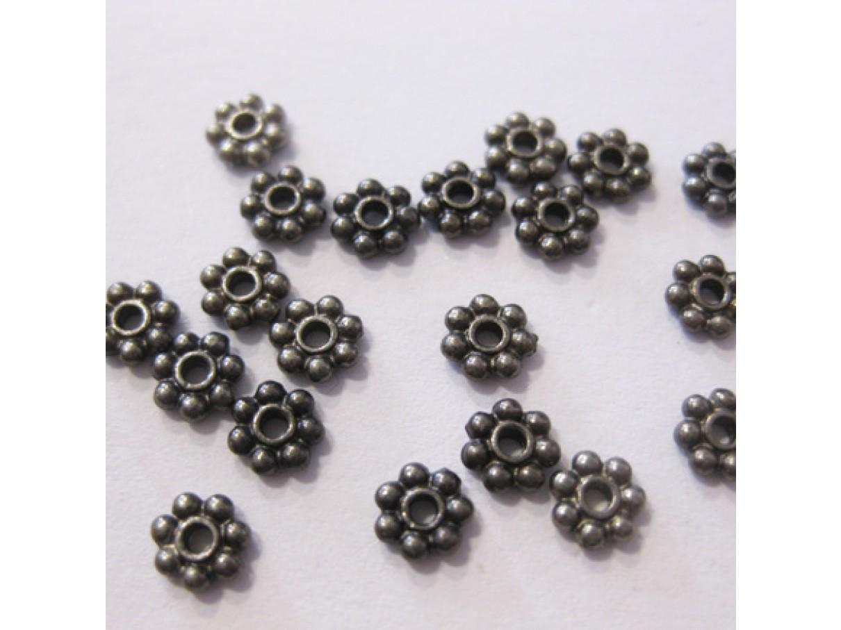 4x1,5mm sorte blomster mellemled, 20 stk