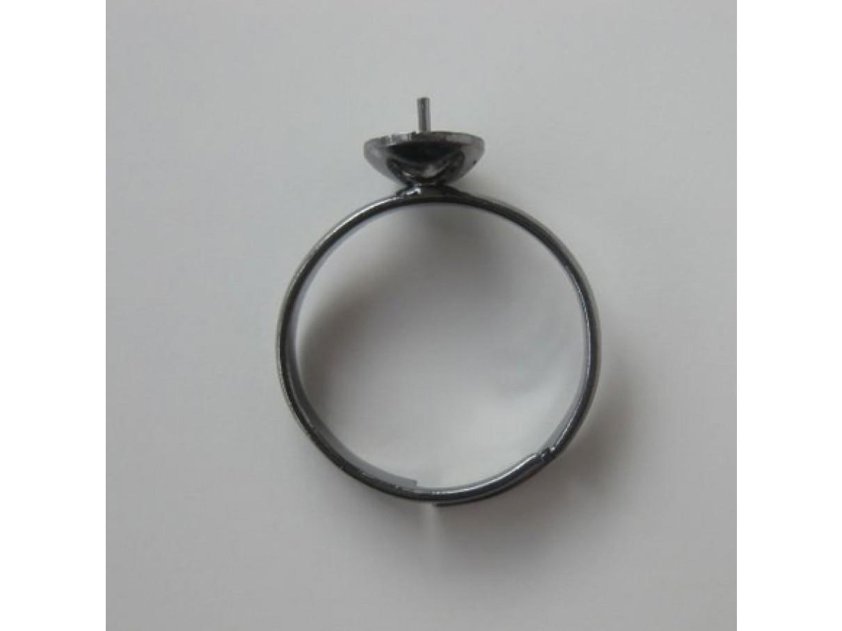 Justerbar fingerring til anboret perle, gunmetal