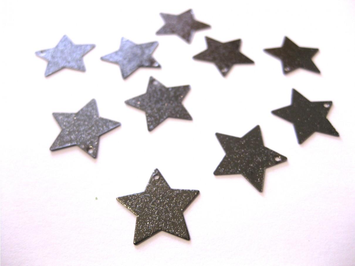 10 stk stjerne vedhæng, gunmetal-3