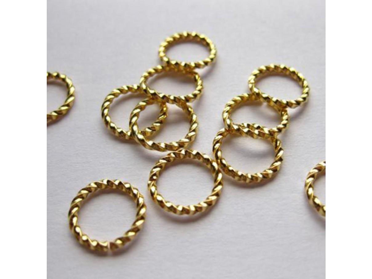 10mm snoede åbne øskner, guldbelagt 10 stk