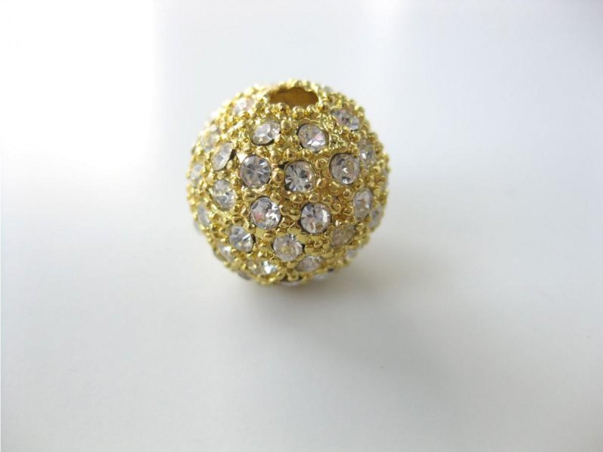 16mm guldbelagt kugle belagt med mange rhinsten