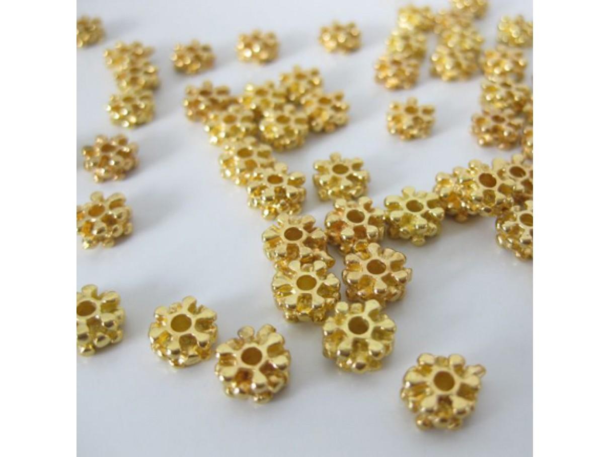 7mm forgyldte perler, 10 stk