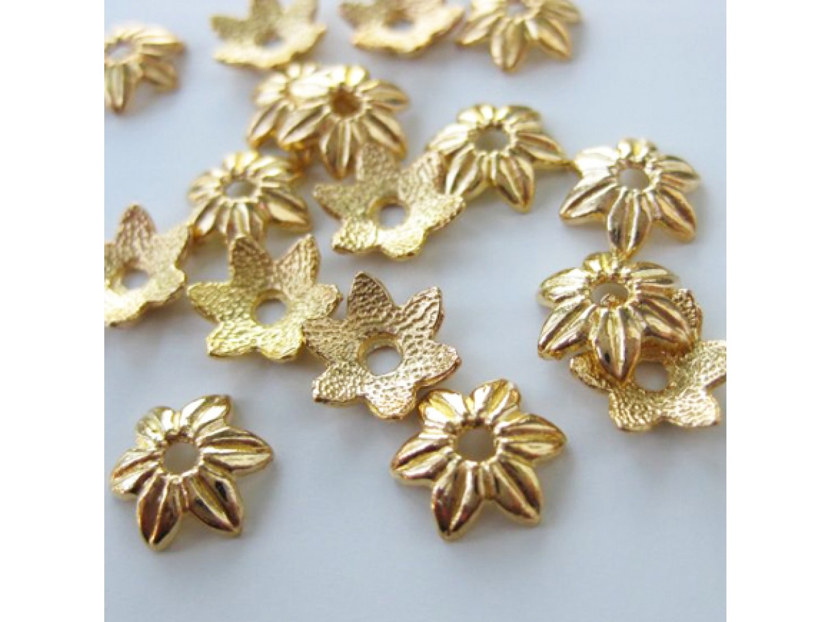 10mm guldbelagte blomster perleskåle, 20 stk