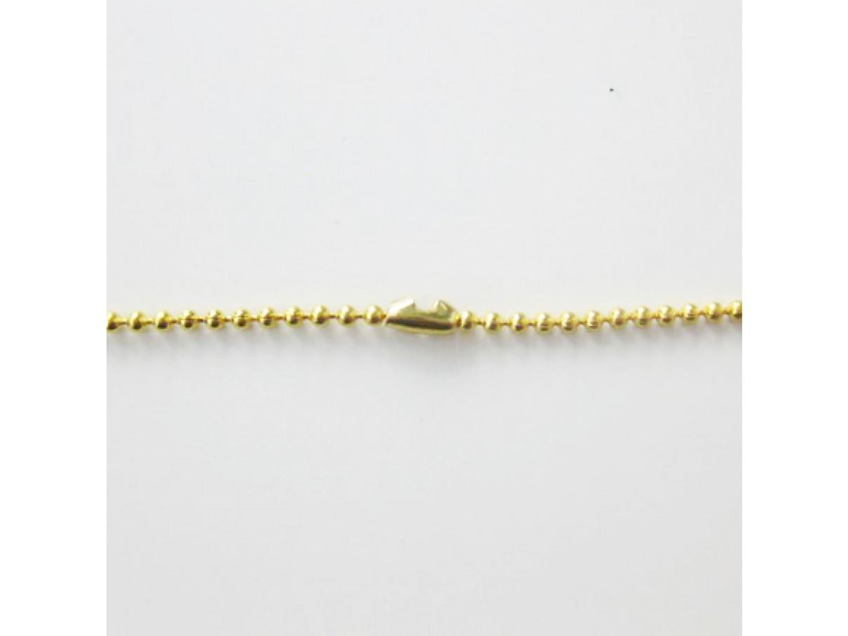 1,5mm kuglekæde, guldbelagt, 1m