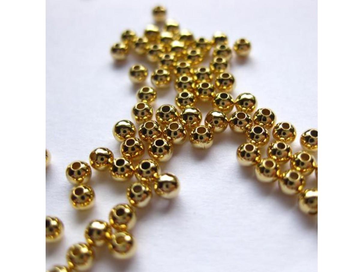 2,4mm guldbelagte perler, 100 stk