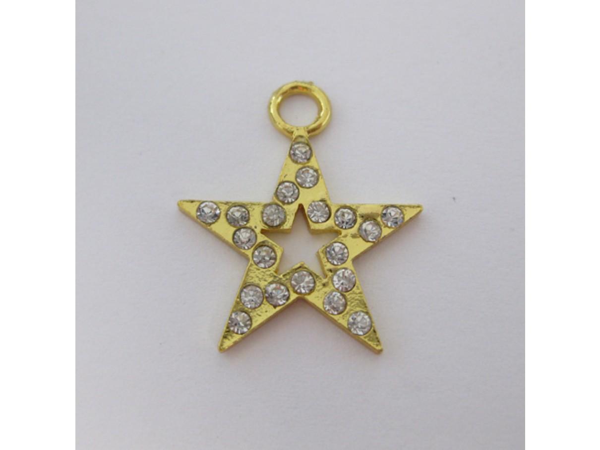 Guldbelagt stjerne vedhæng med rhinsten