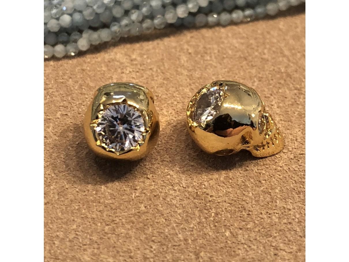 skull perle med zirkoner
