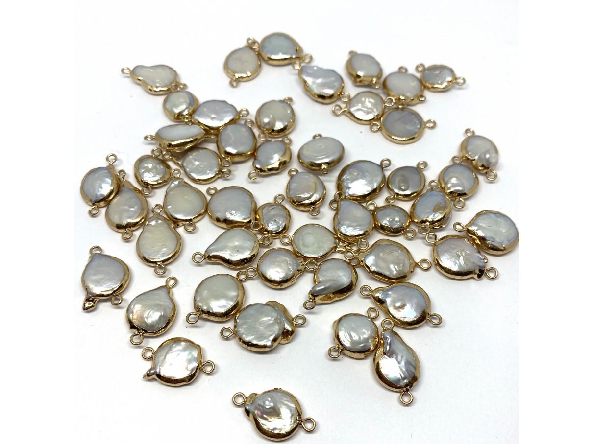 Barok ferskvandsperle link, guld oval-38