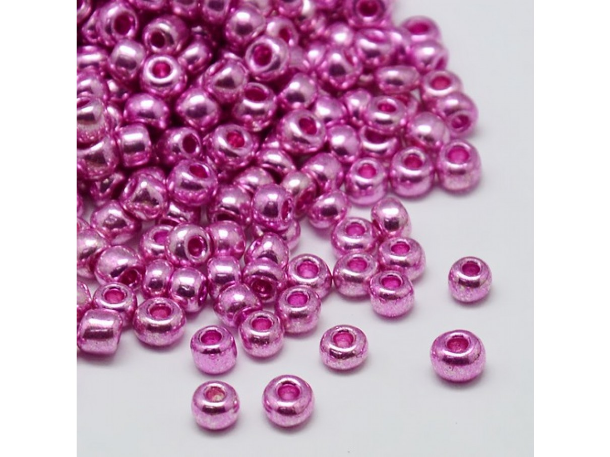 8/0 Glas seed beads, hot pink 2-3mm, 10g