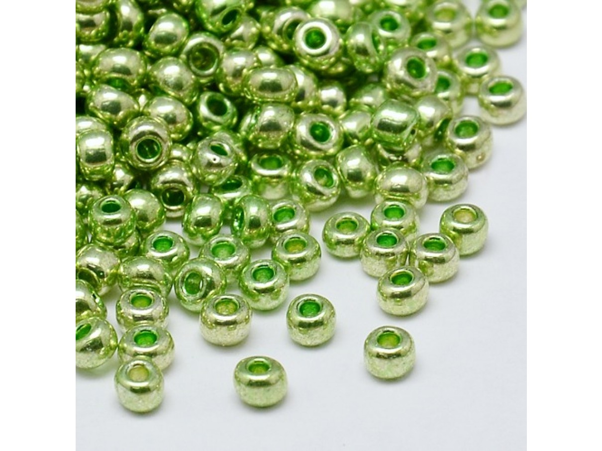 8/0 Glas seed beads, lime green 2-3mm, 10g