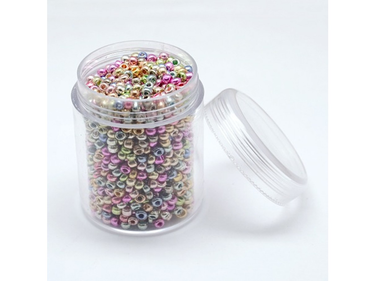 8/0 Glas seed beads, mixed color 2-3mm, 10g-0