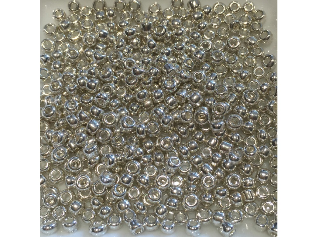 8/0 Glas seed beads, silver 2-3mm, 10g