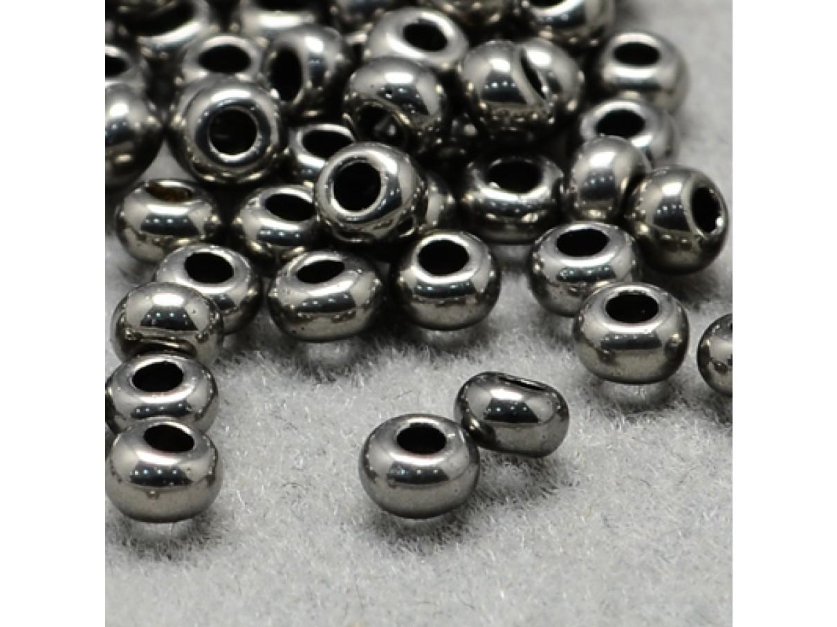 11/0 Glas seed beads, dark grey 2x1,5mm, 10g