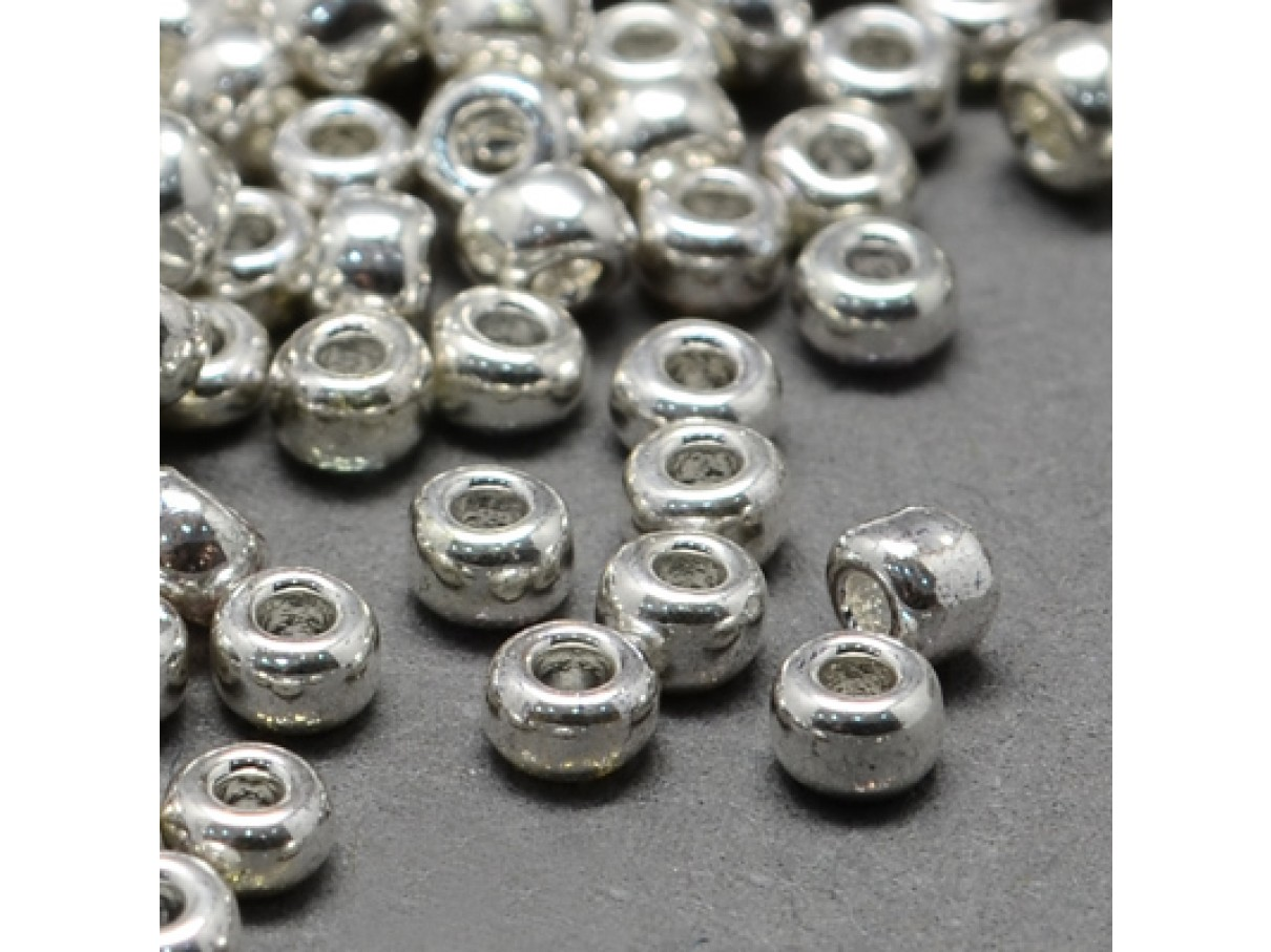 11/0 Glas seed beads, silver 2x1,5mm, 10g