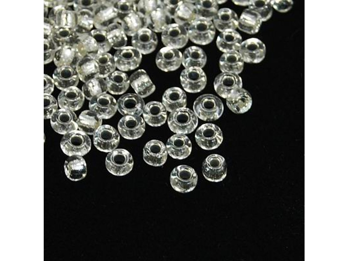 8/0 Glas seed beads, clear 2-3mm, 10g-0
