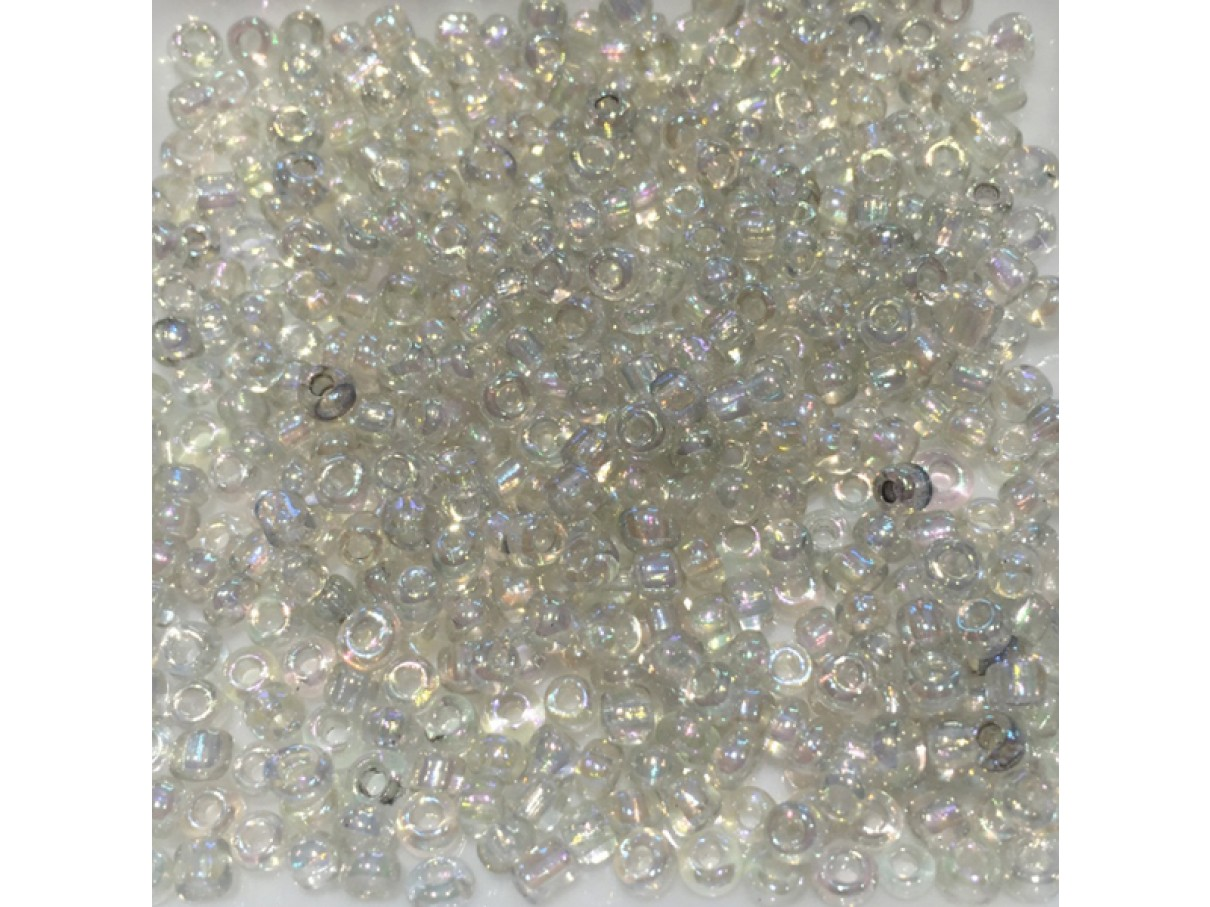 8/0 Glas seed beads, rainbow clear 2-3mm, 10g