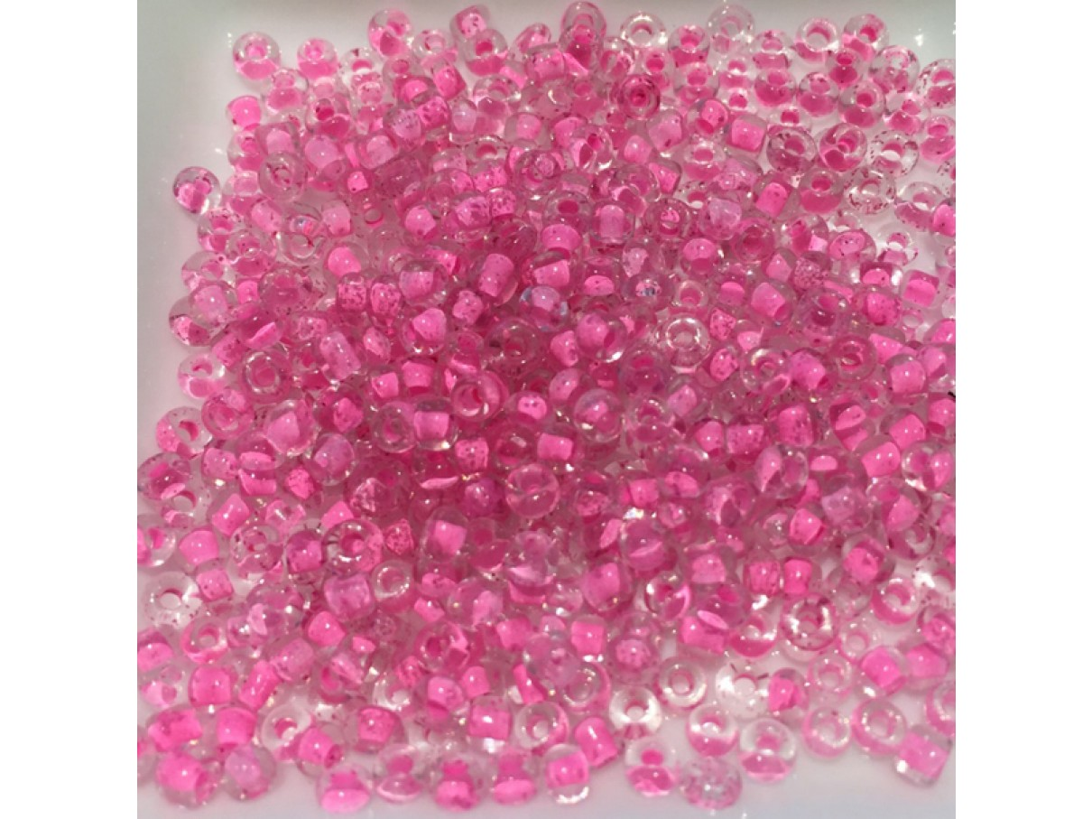 8/0 Glas seed beads, hot pink 2-3mm, 10g-3