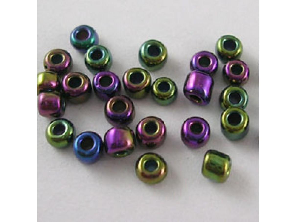 8/0 Glas seed beads, peacock blå 2-3mm, 10g-00