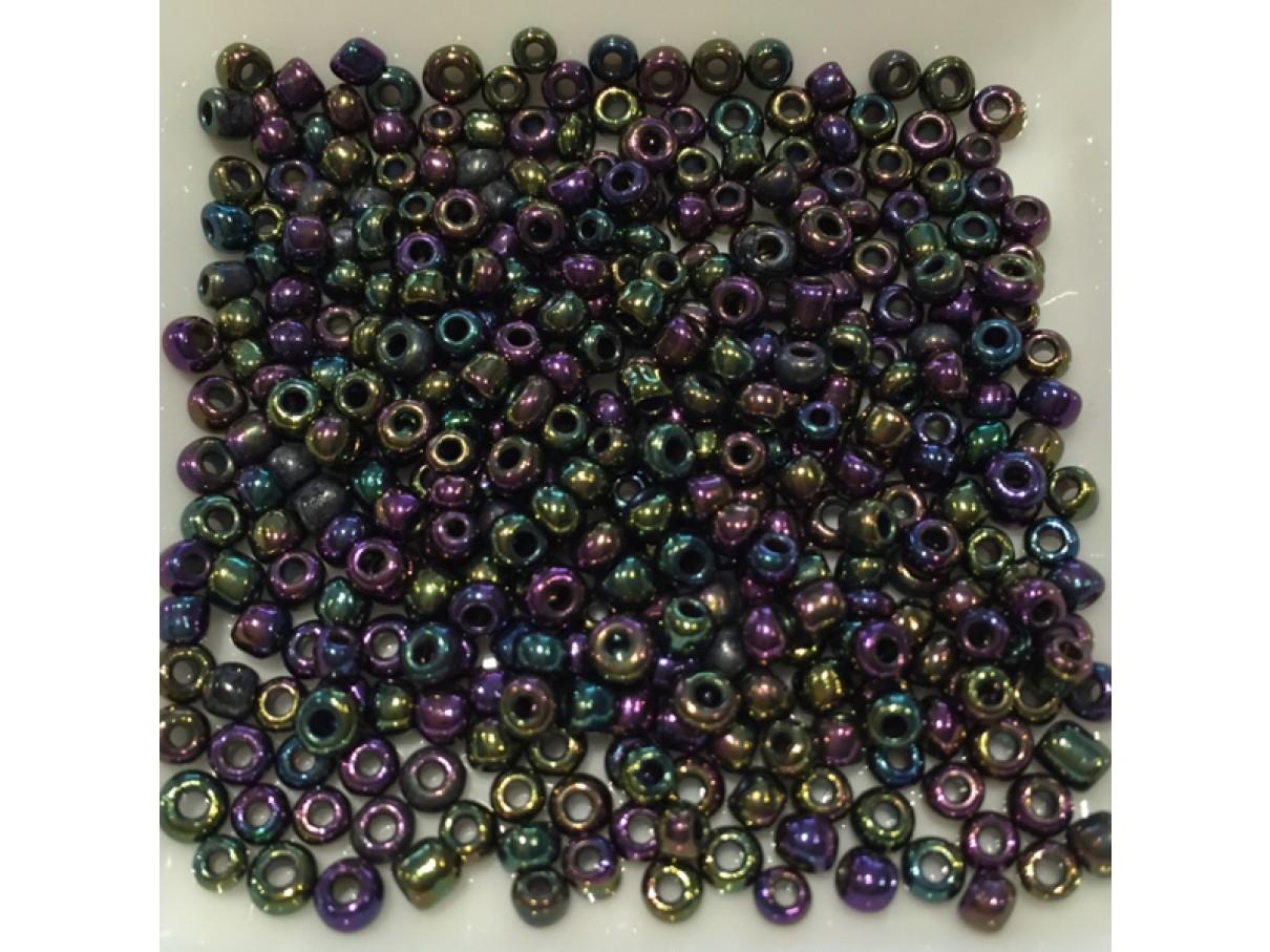 8/0 Glas seed beads, peacock blå 2-3mm, 10g