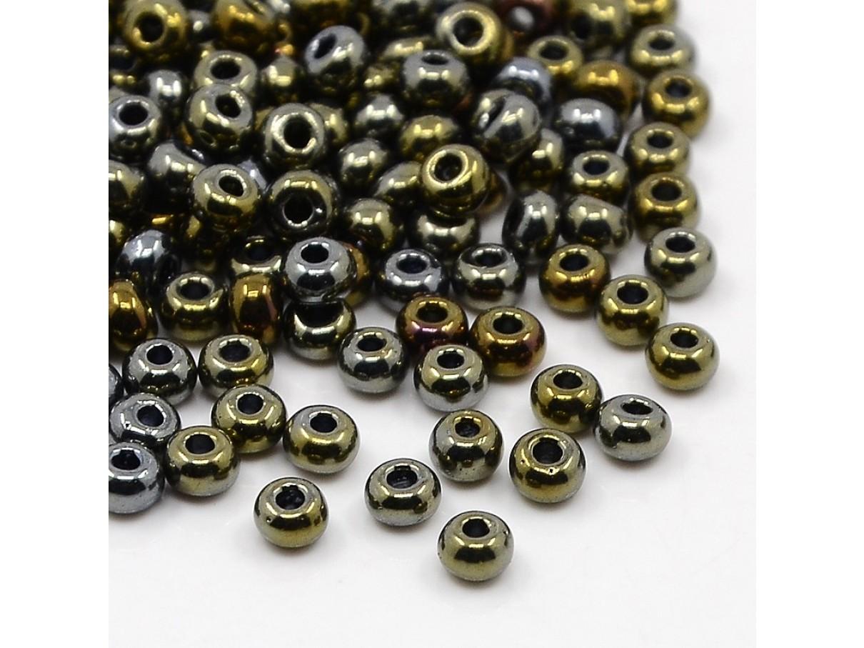 6/0 Glas seed beads, dark khaki 4x2mm, 10g-0