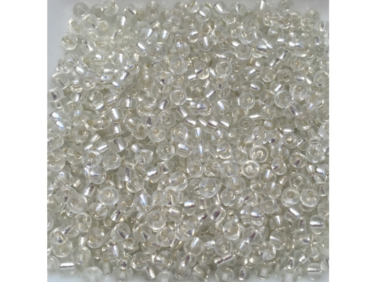 8/0 Glas seed beads, clear 2-3mm, 10g