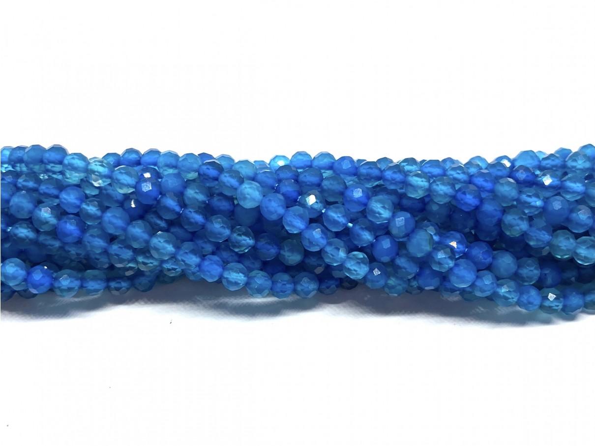 Blå agat, facetslebet rund 3mm, hel streng